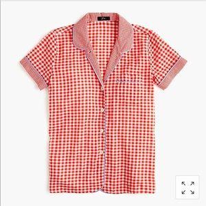 J. Crew Short-sleeve cotton pajama shirt gingham